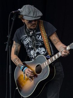 Depp performing at the Glastonbury Festival in June 2017