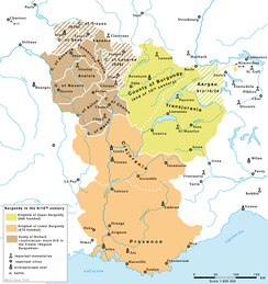 Map of the three parts in the old Kingdom of Burgundy, ca 900     Upper Burgundy    Lower Burgundy    Duchy of Richard the Justiciar