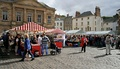 Kelso Farmers Market, Scotland with cobbled square in the foreground