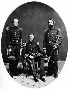 Porter, on the right, in 1860. The other officers are Sidney Smith Lee and Samuel F. Du Pont.
