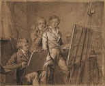 Three Young Artists in a Studio