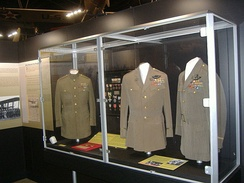 Major General Billy Mitchell's uniform displayed on far left at National Museum of the U.S. Air Force