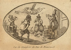Anonymous caricature depicting the treatment given to the Brunswick Manifesto by the French population