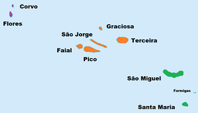 Map of the Azores divided by island group:  Western group  Central group  Eastern group