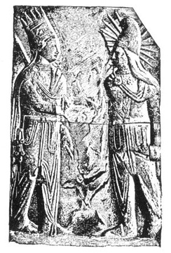 Mithras-Helios, with solar rays and in Iranian dress,[88] with Antiochus I of Commagene. (Mt. Nemrut, 1st Century BCE)