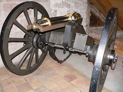 "The Gatling gun, invented in 1861 by Richard Gatling. Custer declined an offer of a battery of these weapons, explaining to Terry that they would ""hamper our movements"". Said Custer: ""The 7th can handle anything it meets.""[137]"