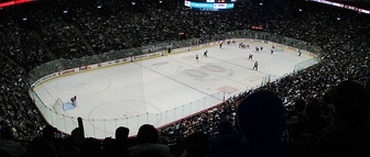 Inside the arena during a hockey game between the Montreal Canadiens and the Buffalo Sabres
