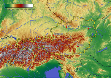 A topographic map of Austria.