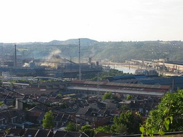 Steelmaking along the Meuse River at Ougrée, near Liège