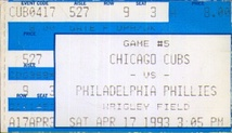 A ticket for a  1993 game between the  Phillies and the Chicago Cubs.