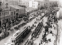 Polish troops enter Kiev in May 1920 during the Polish–Soviet War in which Ukrainians sided with Poland against the Bolsheviks. Following the Peace of Riga signed on 18 March 1921, Poland took control of modern-day western Ukraine while Soviet forces took control of eastern Ukraine.
