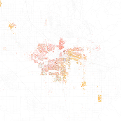 Map of racial distribution in Bakersfield, 2010 U.S. Census. Each dot is 25 people: White, Black, Asian, Hispanic or Other (yellow)