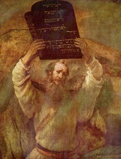 Moses with the Ten Commandments, by Rembrandt.