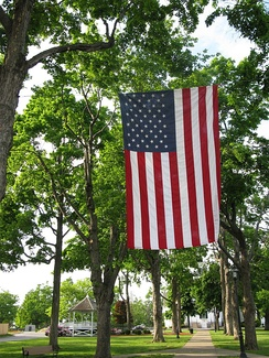 Flag flying over the town common
