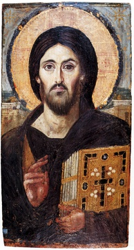 6th? century icon of Christ Pantocrator, a very rare pre-Iconoclasm icon.