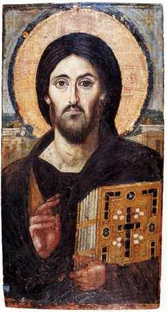 The oldest surviving panel icon of Christ Pantocrator, encaustic on panel, c. 6th century, showing the appearance of Jesus that is still immediately recognised today.