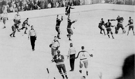 Ice hockey match between the United States and Soviet Union. The United States won the game, 3–2.