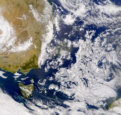 Satellite photo of the Tasman Sea