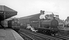 Down freight and a Diesel light-engine in 1961