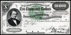 Douglas depicted on the Series 1875 $10,000 Certificate of Deposit