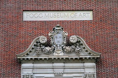 The original entryway pediment of the Fogg Museum of Art now overlooks a main entrance to the Harvard Art Museums