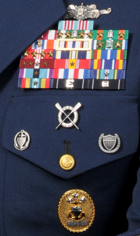U.S. Coast Guard ribbons and badges as shown on the uniform of a former Master Chief Petty Officer of the Coast Guard