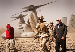 John McCain and Lindsey Graham, along with Lt. Gen. Richard P. Mills, in Afghanistan, 2010