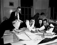 WPA researchers and map makers prepare the air raid warning map for New Orleans within days of the attack on Pearl Harbor (December 11, 1941)