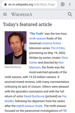 The mobile version of the English Wikipedia's main page, from August 3, 2019
