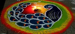 Colorful floor patterns to mark Vijayadashami.