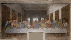 The Last Supper, a late 1490s mural painting by Leonardo da Vinci, depicting the last supper of Jesus and his twelve apostles on the eve of his crucifixion. Most apostles are buried in Rome, including Saint Peter.