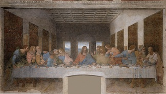 The Last Supper, a late 1490s mural painting by Leonardo da Vinci, is a depiction of the last supper of Jesus and his twelve apostles on the eve of his Crucifixion. Santa Maria della Grazie, Milan.