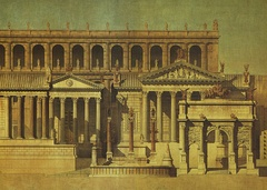 'Trailer' (pp. 2–3) for Claude Moatti's The Search for Ancient Rome. Painting by Louis Duc, 1830.