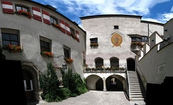 City hall of Hall in Tirol, Tyrol, population ca. 12,700. Hall was one of Austria's largest cities in the late Middle Ages and is still a regional economic and cultural hub today.