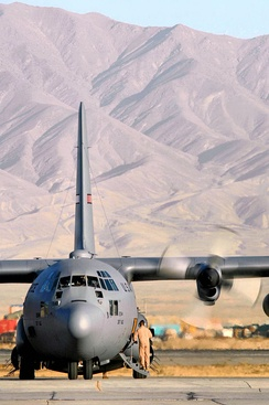 A C-130 Hercules from the former 317th Airlift Group from Dyess Air Force Base, Texas, prepares to take off for an airlift mission in support of Operation Enduring Freedom at Bagram Air Base, Afghanistan.