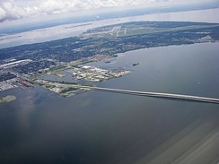 Aerial view including MacDill AFB and the Gandy Bridge.
