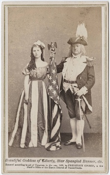 Carte de visite (c. 1866) featuring a woman dressed as Columbia and a man dressed as a Revolutionary War general