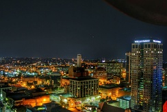 Birmingham skyline at night from atop the City Federal Building, July 1, 2015