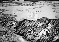 Sketch of the proposed dam site and reservoir, c. 1921