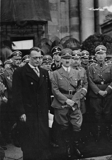 Seyss-Inquart and Hitler with Himmler and Heydrich to the right in Vienna, March 1938