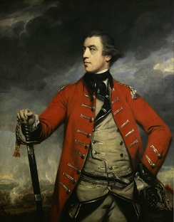 "General John Burgoyne was referred to by some as ""Gentleman Johnny"" for his manners (portrait by Sir Joshua Reynolds, c. 1760)"