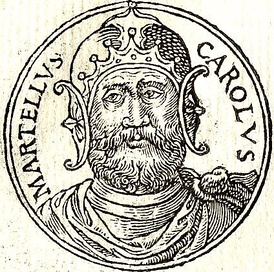 "Charles Martel depicted in the French book ""Promptuarii Iconum Insigniorum"" by Guillaume Rouillé, published in 1553"