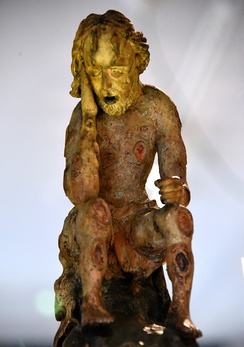Carved wooden figure of Job. Probably from Germany, 1750–1850 CE. The Wellcome Collection, London