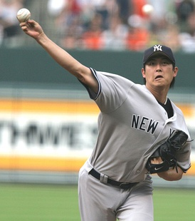 Wang pitching for the New York Yankees in 2006