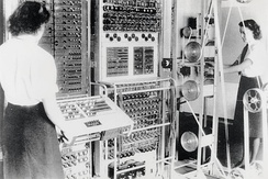 A Mark 2 Colossus computer. The ten Colossi were the world's first (semi-) programmable electronic computers, the first having been built in 1943