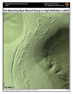 Lidar-derived image of Marching Bears Mound Group, Effigy Mounds National Monument.