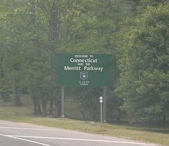 Entering the Merritt Parkway from New York in Greenwich, Connecticut