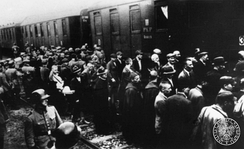 First transport of Polish captives deported from Tarnów to Auschwitz concentration camp during German AB-Aktion in Poland, June 1940