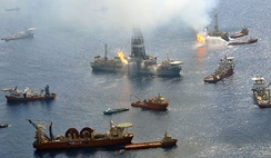 The Discoverer Enterprise and the Q4000 work around the clock burning undesirable gases from the still uncapped Deepwater Horizon well in the Gulf of Mexico. 26 June 2010