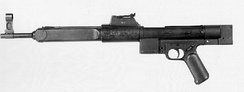 "The Gerät 06 (""device 06"") prototype. An attempt to further simplify the MP 43/44 and StG 44 series of weapons. The pictured example is incomplete; it was captured in 1945 and evaluated at Aberdeen Proving Ground after the war."